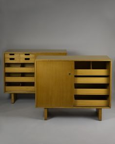 T.H. Robsjohn-Gibbings; Blonde Wood His and Hers Cabinets for Widdicomb, 1950s.