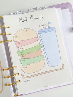 Cute Printable A5 Page Weekly Meal Planner with by SweetestChelle