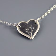 Silver Nature's Heart Necklace - Heart Jewelry. $55.00, via Etsy.