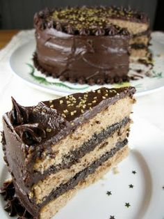 Chestnut layer cake with chocolate chestnut cognac cream filling and ...