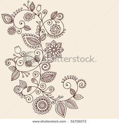 Mehndi Vines and Flowers Paisley-Style Doodle- Maybe for the foot