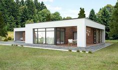 Dream homes sLOVEnia - Real Estate Slovenia - www. Flat Roof House Designs, Modern Exterior House Designs, Modern Architecture House, Small House Design, Modern House Plans, Architecture Plan, Modern House Design, Exterior Design, Affordable Prefab Homes