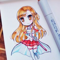 Just a little chibi Asuna to wish you all an awesome day @sword_art_online_demons si dibujo a Asuna pienso en ti jaja