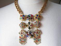 Statement Necklace, Wedding Necklace, Vintage Rhinestone Necklace, Upcycled, Vintage, Rhinestones, Multicolor, Bib, Gemstone - Rainbows End