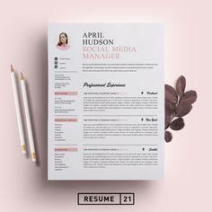 Social Media Resume Template / CV by Resume21 on @creativemarket