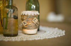 twine wrapped mason jar