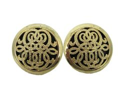 Black and gold vintage cufflinks scrollwork men's by LexysCloset