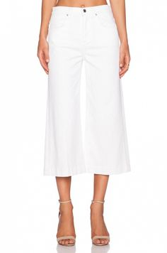 7 for All Mankind White Denim Culotte