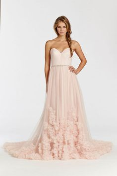 Blush pink Ti Adora Wedding Dress with ruffled tulle skirt, sweetheart neckline and diamante sash