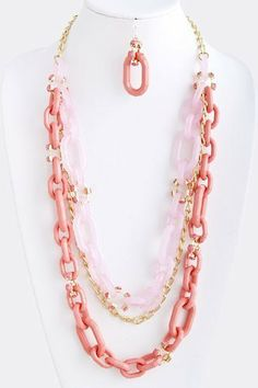 """Pink Acrylic Collar Layered Chain Link Necklace - Stacked Pink Acrylic Chian Link Necklace With Gold Accent StarShine Jewelry. $33.80. Lead and nickel compliant. Stacked Acrylic chain link necklace. Lobster claw clasp with 3"""" extender. Length approx 33"""" (longest) Layered Chains, Pink Acrylics, Gold Accents, Jewelry Sets, Beaded Necklace, Turquoise, Link, Fashion, Diy Kid Jewelry"""