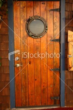 Wood door with porthole (wood to match our signage) & Beautiful door with porthole \u0026 metal trim by DaVinci Doors | The ...