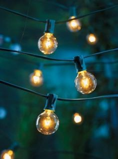 10 Surprisingly Stylish Outdoor Decor Upgrades For Under $50 - white string lights strung criss cross from garage to fence over garden