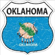 HS-144 Oklahoma State Flag Highway Shield Aluminum Metal Sign