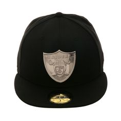 info for 6e2d2 c03d6 Exclusive New Era 59Fifty Oakland Raiders Metal Emblem Hat - Black,  Metallic Silver