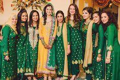 Green bridesmaids for mehndi Bridal Mehndi Dresses, Desi Wedding Dresses, Pakistani Formal Dresses, Indian Dresses, Pakistani Mehndi Dress, Wedding Wear, Dress Wedding, Indian Outfits, Wedding Ceremony