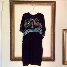 Vintage Black Kimono Maxi Dress + Neon Tropical Print + Onesize on Etsy, $26.45