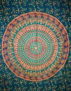 Indian mandala tapestry, Elephant Mandala Tapestry in sun moon ...