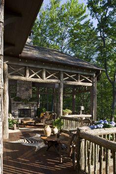 Wade Hampton House - William T. Outdoor Retreat, Outdoor Rooms, Outdoor Living, Cabin Homes, Log Homes, Hamptons House, The Hamptons, Pergola Patio, Backyard