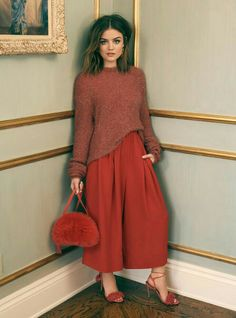 Lucy Hale Launches ShopBop's Holiday Campaign - See The Pics!: Photo Lucy Hale is a fashion queen in ShopBop's new Holiday Campaign! The Pretty Little Liars actress was announced as one of the faces for the online brand's new… Lucy Hale Style, Lucy Hale Hair, Lucie Hale, Lucy Hale Outfits, Ropa Shabby Chic, Karate Pants, Fall Outfits, Fashion Outfits, Looks Black