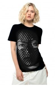 MESH MASK TEE ON SALE $30.00 Black T-shirt featuring the mesh mask image with On The Run Tour dates on the back.