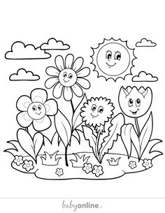 Grapes Coloring Pages Flower Coloring Sheets, Love Coloring Pages, Spring Coloring Pages, Coloring Pages For Kids, Adult Coloring, Coloring Books, Spring Pictures To Color, Colorful Pictures, Art N Craft