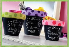 more chalkboard painted pots