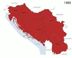 Dissolution of Yugoslavia. List of all the countries (see if you can keep up): • Dark red- SFR Yugoslavia • Green- Slovenia • Orange- Macedonia • Lighter Red- Croatia • Pink- Croat Republic of...