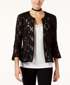 INC International Concepts Faux Leather-Trim Mesh Illusion Jacket, Only at Macy's $53.99 INC International Concepts