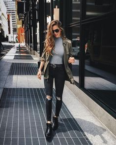Women's spring fashion grey skinny pullover knitted sweater+army green jacket blazer sweater+black skinny destroyed ripped pants