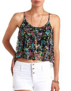 floral print lace swing crop top