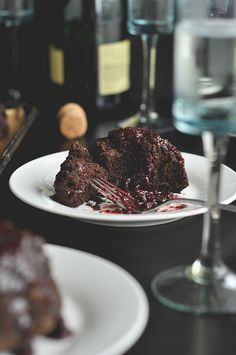 Dark Chocolate Cherry Champagne Cakes.