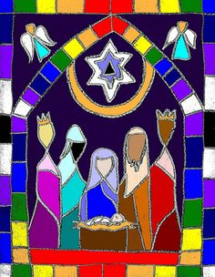 .nativity scene in stained glass