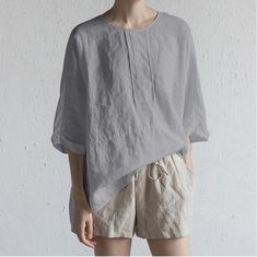 グレー Linen Blouse, Casual T Shirts, Manga, Quarter Sleeve, Half Sleeves, Cotton Linen, Shirt Blouses, Blouses For Women, Colorful Shirts