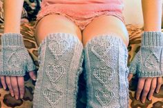 """Ravelry: """"Heart Warmers"""" Heart Cable Knit Legwarmers and Mini Mits in Girls and Adult Sizes pattern by Lauren Riker Cable Stitch Knit, Cable Knit, Knit Leg Warmers, Hand Warmers, Hooded Scarf, Girls Hand, Knit In The Round, Knit Skirt, Mini"""