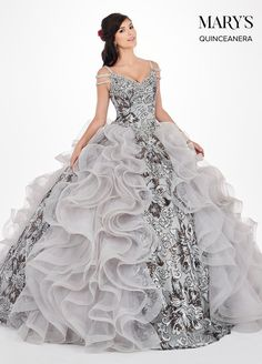 07bbffc921 Sequin Print Cold Shoulder Quinceanera Dress by Mary s Bridal MQ2065