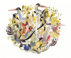 spot illustration, animal, bird, heron, crane, stork, hummingbird, floral, pattern, design, frame. Michelle Morin