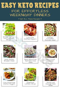 I've put together my favorite effortless and easy Keto recipes to make your Keto diet less boring without the work. The perfect dinners for busy weeknights! Low Carb Shrimp Recipes, Salad Recipes Low Carb, Low Carb Dinner Recipes, Keto Recipes, Snacks To Make, Healthy Snacks, Food To Make, Chicken And Beef Recipe, Low Carb Meal Plan