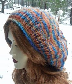Soft Rainbow Swirl slouchy hat  Hand knit hat  by WintersPastime