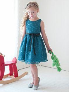 Teal Lace Dress w/ Sash $52.99