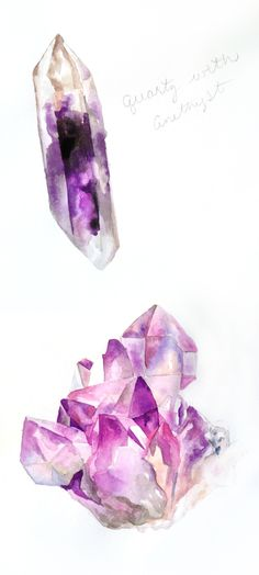 crystal paintins: I like these painterly crystals, I work with watercolour and love the detail the paint has created here, This is amazing inspiration for my next project!