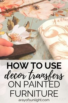 """How to easily add flowers to any old piece of furniture, painted dresser or thrift finds with a decor transfer! This simple bedroom diy project transforms a plain blue painted dresser to a stunning """"hand painted"""" floral dresser in minutes! Teal Painted Dressers, Teal Dresser, Painted Bedroom Furniture, Decoupage Furniture, Recycled Furniture, Diy Furniture, Redone Dressers, Furniture Design, Refinished Furniture"""