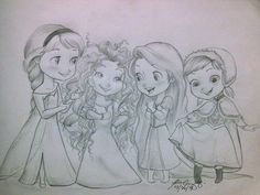 elsa-merida-rapunzel-and-anna-lt-the-interesting-hair-club-girls-only-disney-stuff-fan-art-disney-pr. Disney Pixar, Disney Animation, Draw Disney, Cute Disney, Disney And Dreamworks, Disney Girls, Disney Art, Disney Stuff, Baby Disney