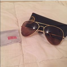 Brown AUTHENTIC Ray-Ban Aviators!!! Brown and gold new never worn!!! Perfect condition!!! Ray-Ban Accessories Sunglasses