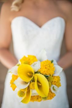 Yellow Calla Lily Bouquet | Rustic Mountain Wedding with Sunny Yellow Details