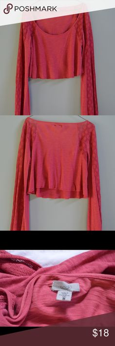 Ecote Coral Red Long Sleeve Crop Top Never been worn Ecote Tops Crop Tops