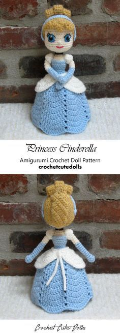 Amigurumi Crochet Doll Pattern & Tutorial for the Disney Princess Cinderella by Crochet Cute Dolls