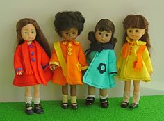 "Modern felt coats for Betsy McCall, Ginny, Madame Alexander, 7""-8"" dolls - see lots more at www.ggmdolly.com"