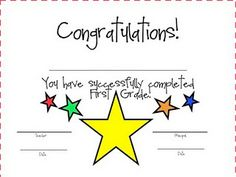 End of First Grade Certificate