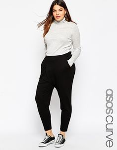 ASOS CURVE Jersey Peg Trouser With Wrap Detail