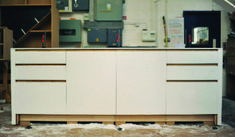 A Corian kitchen island that has just been dry-fitted in our workshop.